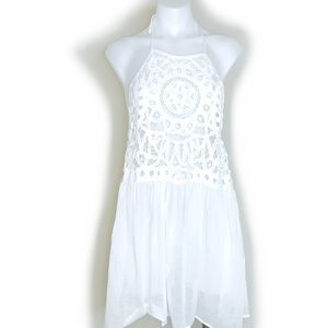 WHITE HALTER DRESS - EN CREME
